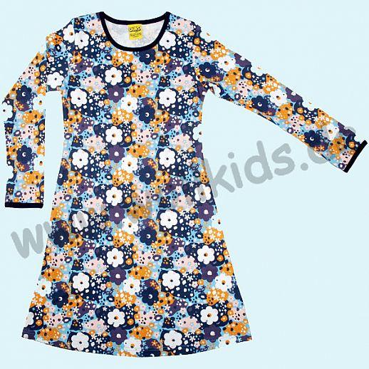 DUNS Sweden: BIO-Baumwolle GOTS - süßes Kleid mit bunten Blumen in blau - ORGANIC