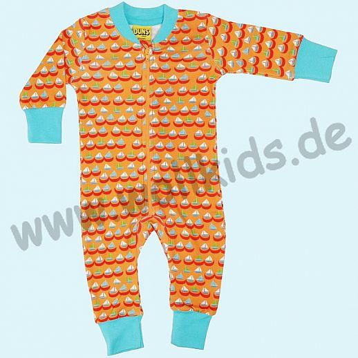 DUNS Sweden: BIO-Baumwolle GOTS Overall Schlafi Schlafanzug Zip Suit - Segelboote orange