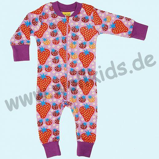 DUNS Sweden: BIO-Baumwolle GOTS Overall Schlafi Schlafanzug Zip Suit - Erdbeer Strawberry rosa