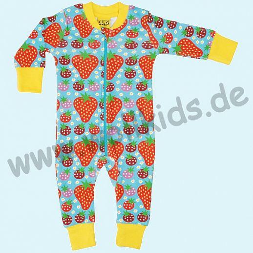 DUNS Sweden: BIO-Baumwolle GOTS Overall Schlafi Schlafanzug Zip Suit - Erdbeer Strawberry türkis