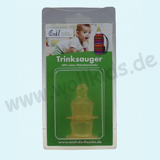 EMIL Baby - Trinksauger aus Latex - 2er Set - 0-6 Monate - Gesund & Nachhaltig - Glasflasche