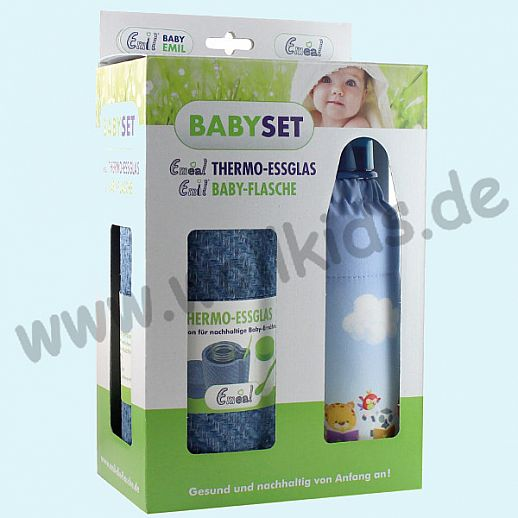 EMIL Babyset - im Geschenkkarton Lesefreunde - Emil Babyflasche & Emeal® Thermo-Glas