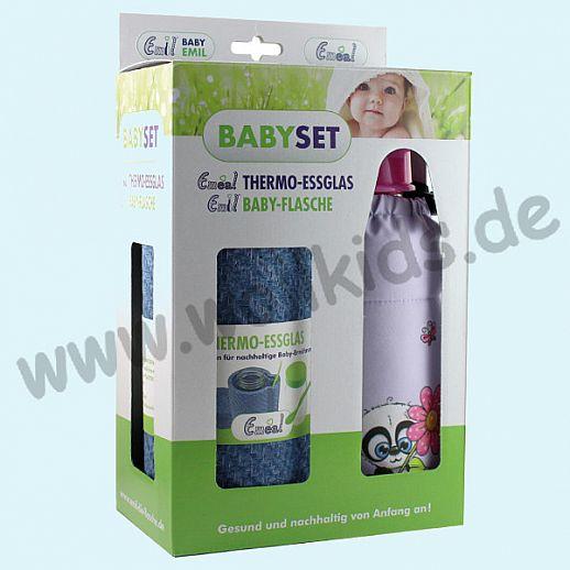EMIL Babyset - im Geschenkkarton Panda - Emil Babyflasche & Emeal® Thermo-Glas