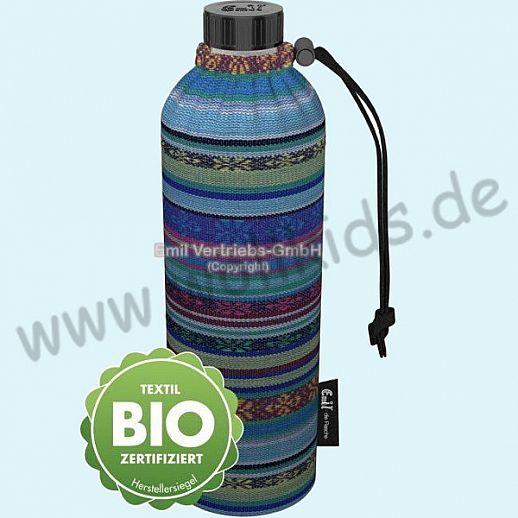 Emil die Flasche - WEITHALS Trinkflasche 0,75l BIO Aztek blau Streifen