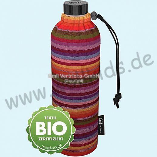 Emil die Flasche - WEITHALS Trinkflasche 0,75l BIO Streifen rot bunt