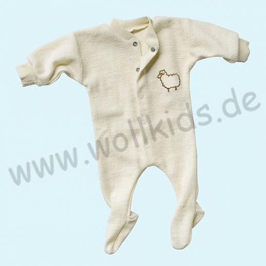 Frühchen: Engel Schurwollfrottee Schlafanzug Schlafi natur kbT Merino-Wolle