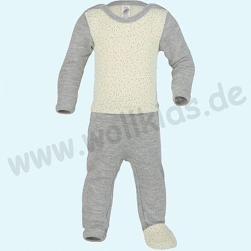 Engel Ganzkörper Body Longjohn Baby Overall mit Umschlagfuß natur bedruckt - grau GOTS