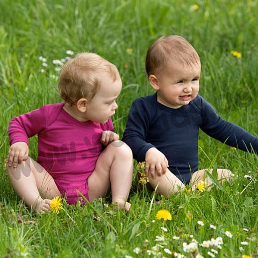 NEU: Engel Baby Body Wolle Seide kbT BIO Organic himbeer Langarmbody