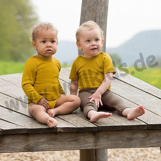 NEU: Engel Baby Body Wolle Seide kbT BIO Organic mit Druckknöpfen am Hals safran