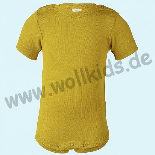 NEU: Engel Baby Body Wolle Seide Kurzarm kbT BIO Organic waschbar safran = curry