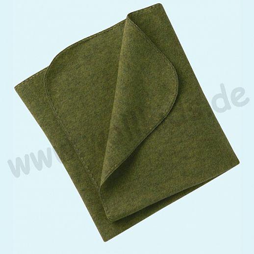 Engel Wollfleece Decke kbT Merino-Wolle Merinowolle Fleece schilf melange Muschelkante