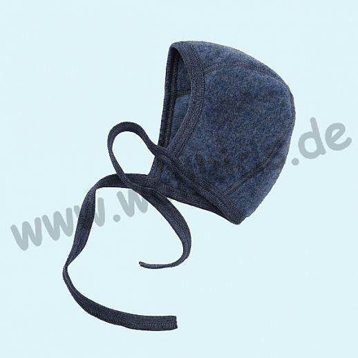 NEU: Engel Wollfleece Häubchen kbT Merino-Wolle Merinowolle Fleece blau melange