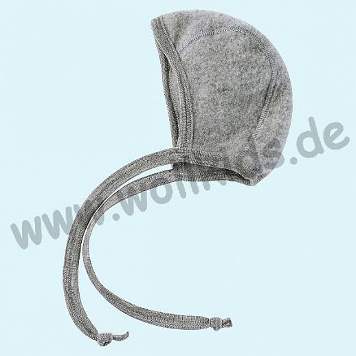 NEU: Engel Wollfleece Häubchen kbT Merino-Wolle Merinowolle Fleece grau melange