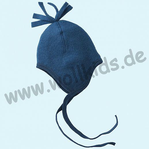 NEU: Engel Wollfleece Mütze kbT Merino-Wolle Merinowolle Fleece blau melange