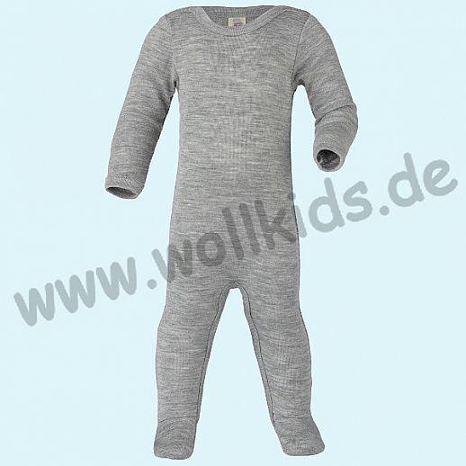 Engel Ganzkörper Body Longjohn Overall Schlafoverall mit Fuß GOTS grau