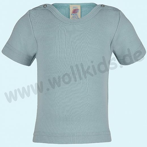 NEU: Engel Babyshirt Engel Kurzarm Baby Shirt Wolle Seide gletscher BIO GOTS