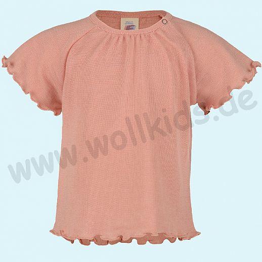 NEU: Engel Babyshirt Engel Kurzarm Baby Shirt Wolle Seide lachs mit Rüschen BIO GOTS