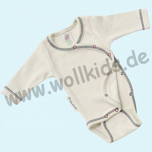 Engel Frühchen Wickelbody kbA Baumwolle natur mit Kontrastnähten BIO Organic