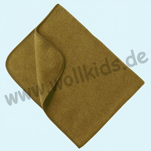 Engel Wollfleece Decke kbT Merino-Wolle Merinowolle Fleece  safran melange (curry)