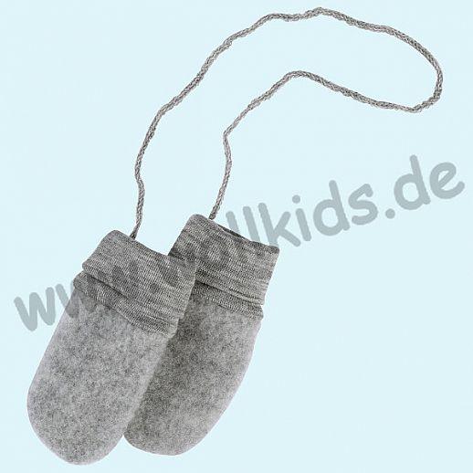 NEU: Engel Wollfleece Baby Handschuhe Merinowolle Fleece grau melange