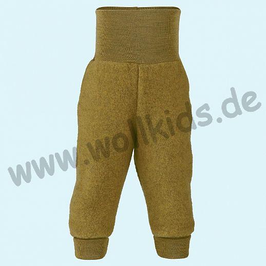 Engel Schurwoll-Fleece Hose mit Yogabund safran = curry melange kbT Merino-Wolle