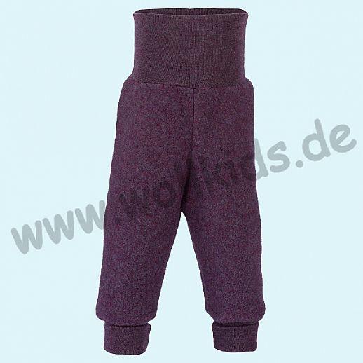 Engel Schurwoll-Fleece Hose mit Yogabund pflaume melange kbT Merino-Wolle