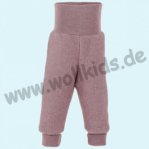 Engel Schurwoll-Fleece Hose mit Yogabund rosa rosenholz melange kbT Merino-Wolle