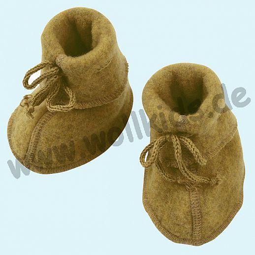 NEU: Engel Wollfleece Baby Schuhe Babyschuhe Merinowolle Fleece safran melange