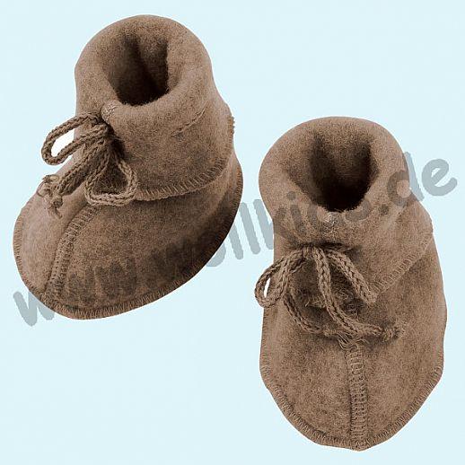 NEU: Engel Wollfleece Baby Schuhe Babyschuhe Merinowolle Fleece walnuß melange