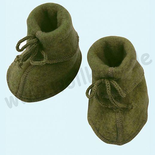 Engel Wollfleece Baby Schuhe Babyschuhe Merinowolle Fleece schilf melange