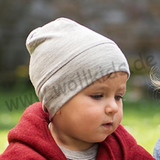 NEU: ENGEL Baby Mütze Beanie kbT organic GOTS Merino-Wolle Seide grau melange