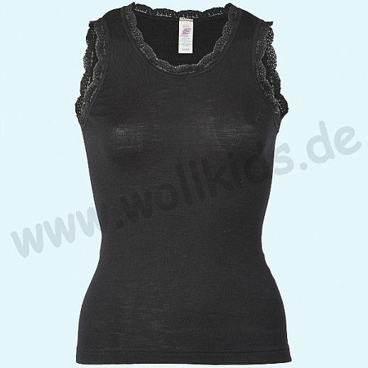 ENGEL: Damen Achselshirt - Wolle Seide schwarz BIO mit Spitze - super schön