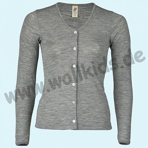ENGEL: Damen Cardigan - Urban Eco Style - Wolle Seide hellgrau melange BIO