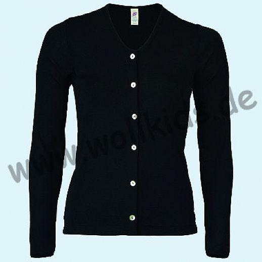 ENGEL: Damen Cardigan - Urban Eco Style - Wolle Seide schwarz BIO