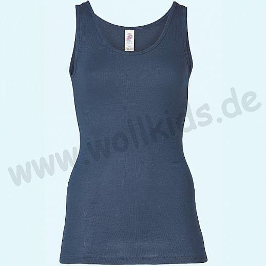 ENGEL: Damen Trägerhemd - Hemd - Wolle Seide marine BIO