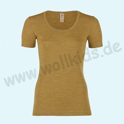 ENGEL: Damen Kurzarm Shirt  - Reine kbT Schurwolle Merino BIO safran GOTS