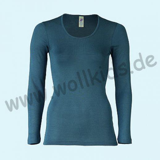 ENGEL: Damen Langarm Hemd - LA Hemd - Wolle Seide atlantik BIO