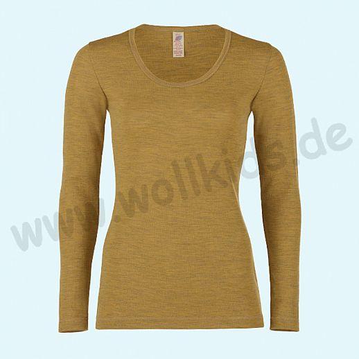 ENGEL: Damen Langarm Shirt  - Reine kbT Schurwolle Merino BIO safran GOTS