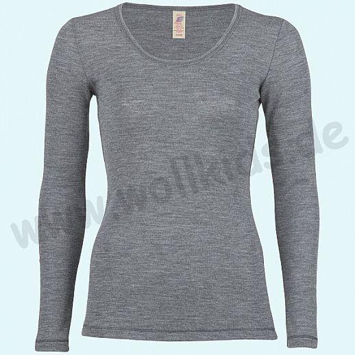 ENGEL: Damen Langarm Shirt  - Reine kbT Schurwolle Merino BIO schiefer GOTS
