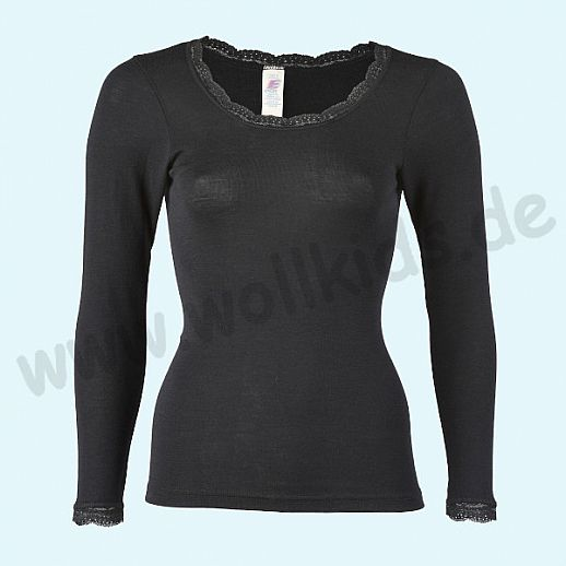 ENGEL: Damen Langarm Shirt mit Spitze - Wolle Seide schwarz BIO - traumhaft schön
