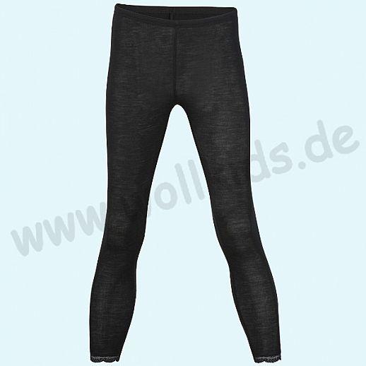 ENGEL: Damen Leggin - lange Unterhose - Wolle Seide schwarz BIO mit Spitzenabschluß am Bein
