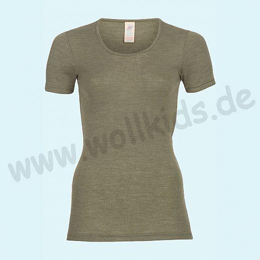 ENGEL: Damen Kurzarm Hemd - KA Hemd - Wolle Seide olive BIO