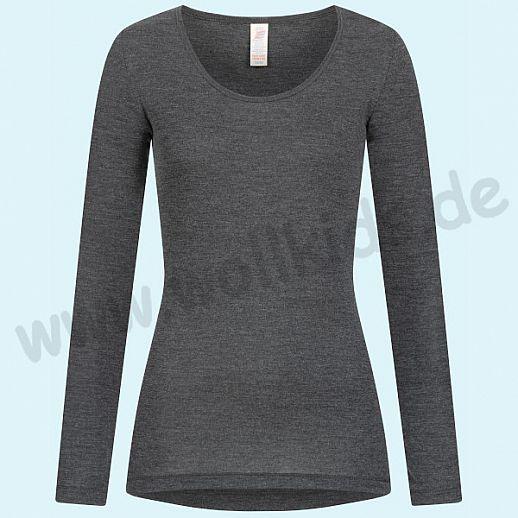 Sondermodell - ENGEL: Damen Langarm Shirt - Damenshirt - Wolle Seide basalt BIO
