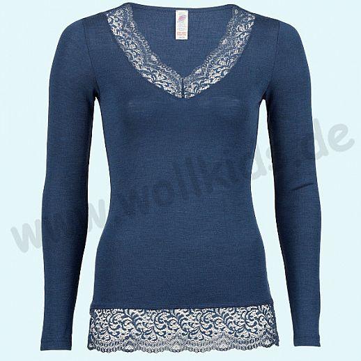 ENGEL: NEU: Damen LA Shirt mit Spitze Wolle Seide marine BIO GOTS ORGANIC