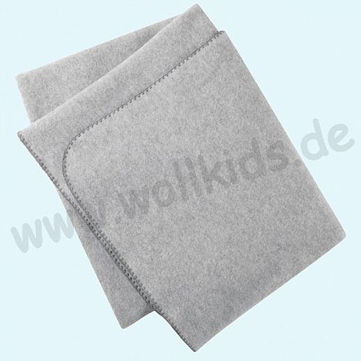 Engel Wollfleece Decke kbT 150cm x 180cm Merinowolle Fleece grau melange mit Muschelkante