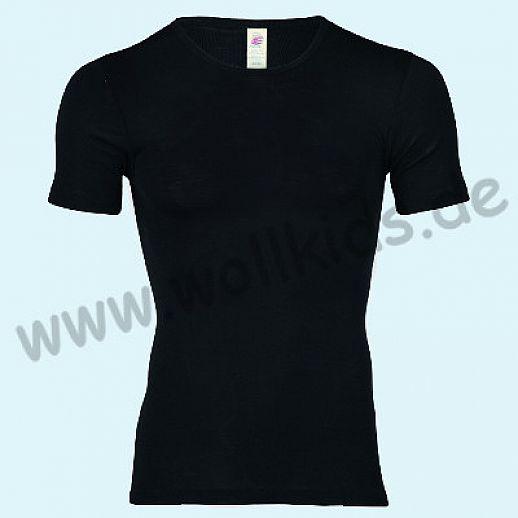 ENGEL: Herren Kurzarm Hemd - KA Hemd - Wolle Seide schwarz BIO