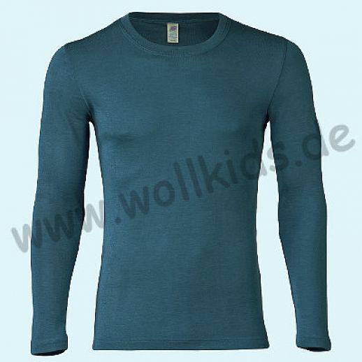 ENGEL: Herren Langarm Hemd - LA Hemd - Wolle Seide atlantik BIO