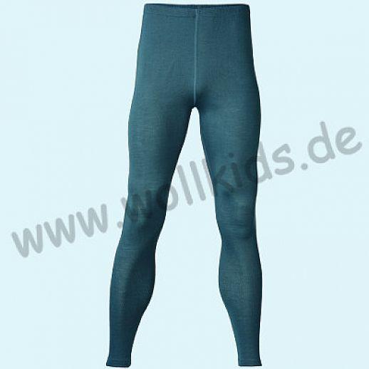 ENGEL: Herren Leggin - lange Unterhose - Wolle Seide atlantik BIO