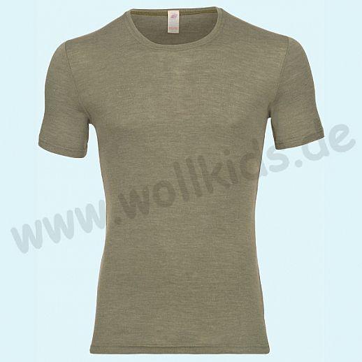 ENGEL: Herren Kurzarm Shirt - KA Hemd - Wolle Seide olive BIO