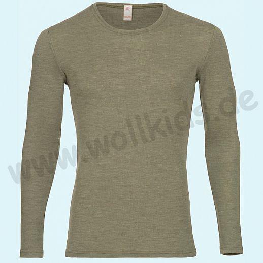 ENGEL: Herren Langarm Shirt - LA Hemd - Wolle Seide olive BIO